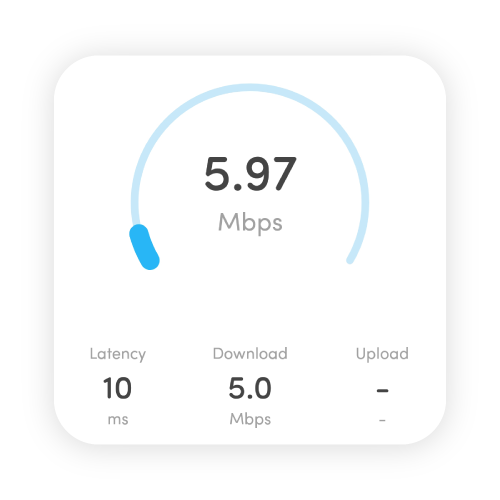 free internet speed tests on the fing app showing download and upload speed